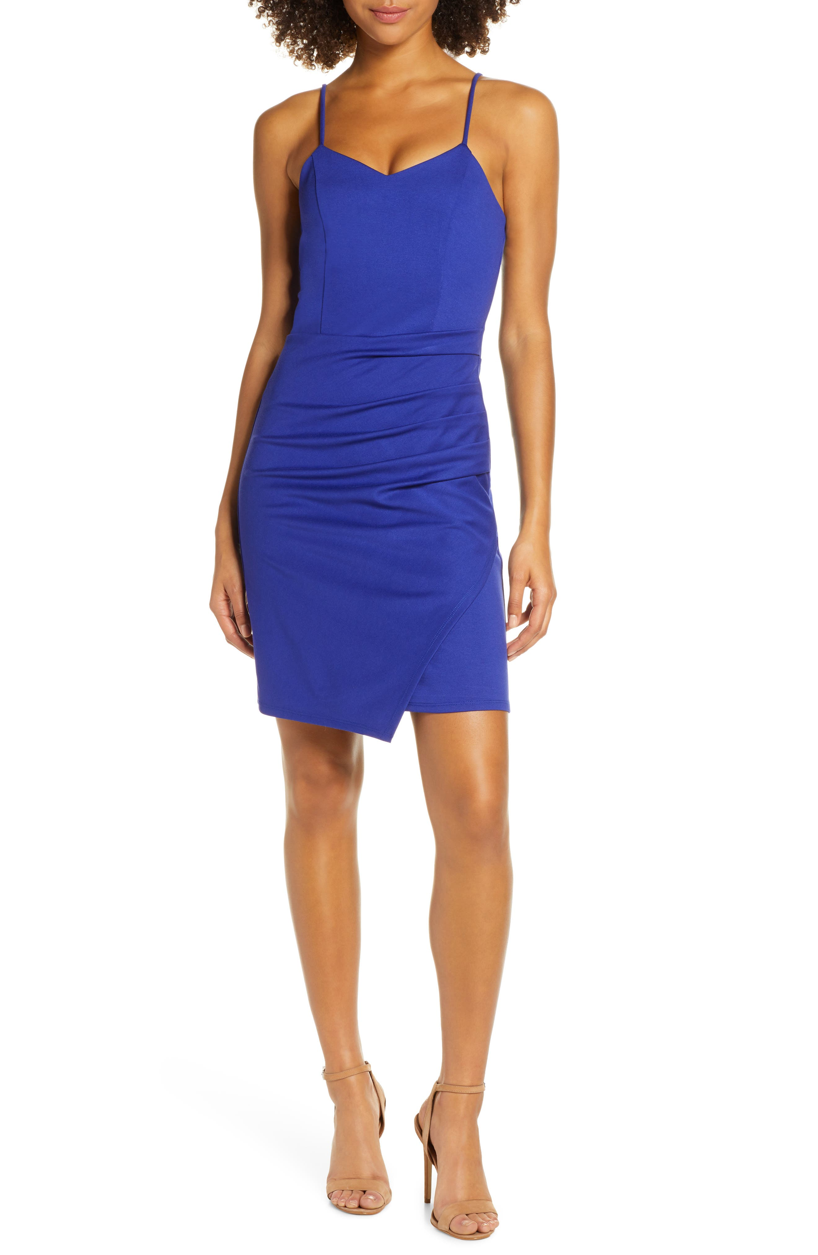 Fraiche By J Side Gather Tank Dress, Blue