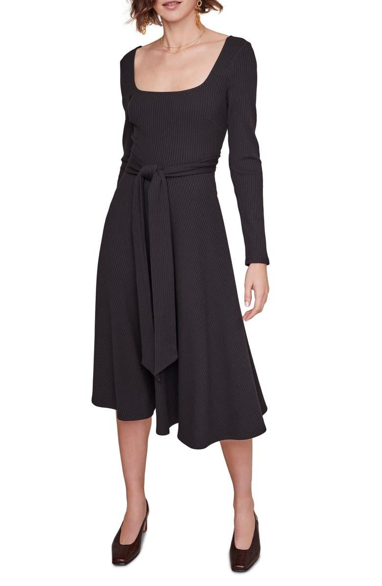 ASTR THE LABEL Sinclair Midi Dress, Main, color, BLACK