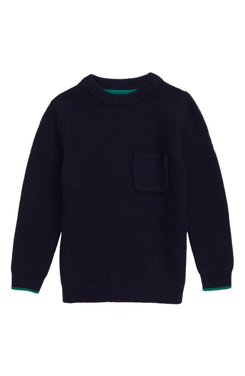 MINI BODEN Knit Crewneck Sweater, Main, color, COLLEGE BLUE