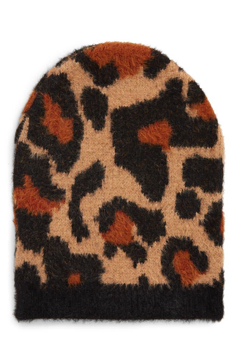 TASHA Leopard Pattern Beanie, Main, color, LEOPARD