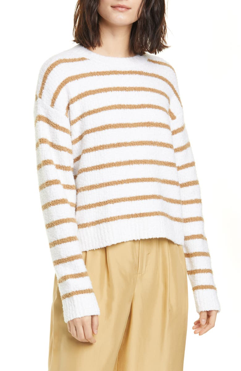 VINCE Stripe Cotton Blend Sweater, Main, color, OPTIC WHITE/ DUNE