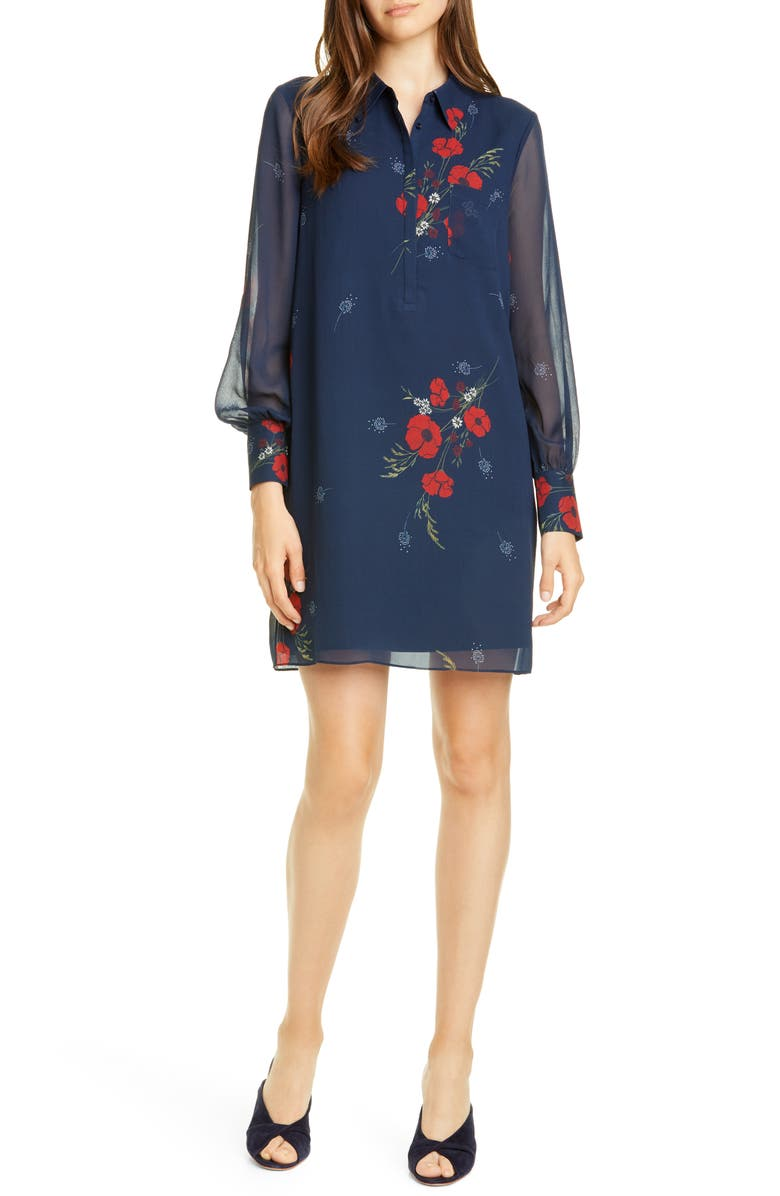 JOIE Amaranda Floral Long Sleeve Silk Shirtdress, Main, color, MIDNIGHT