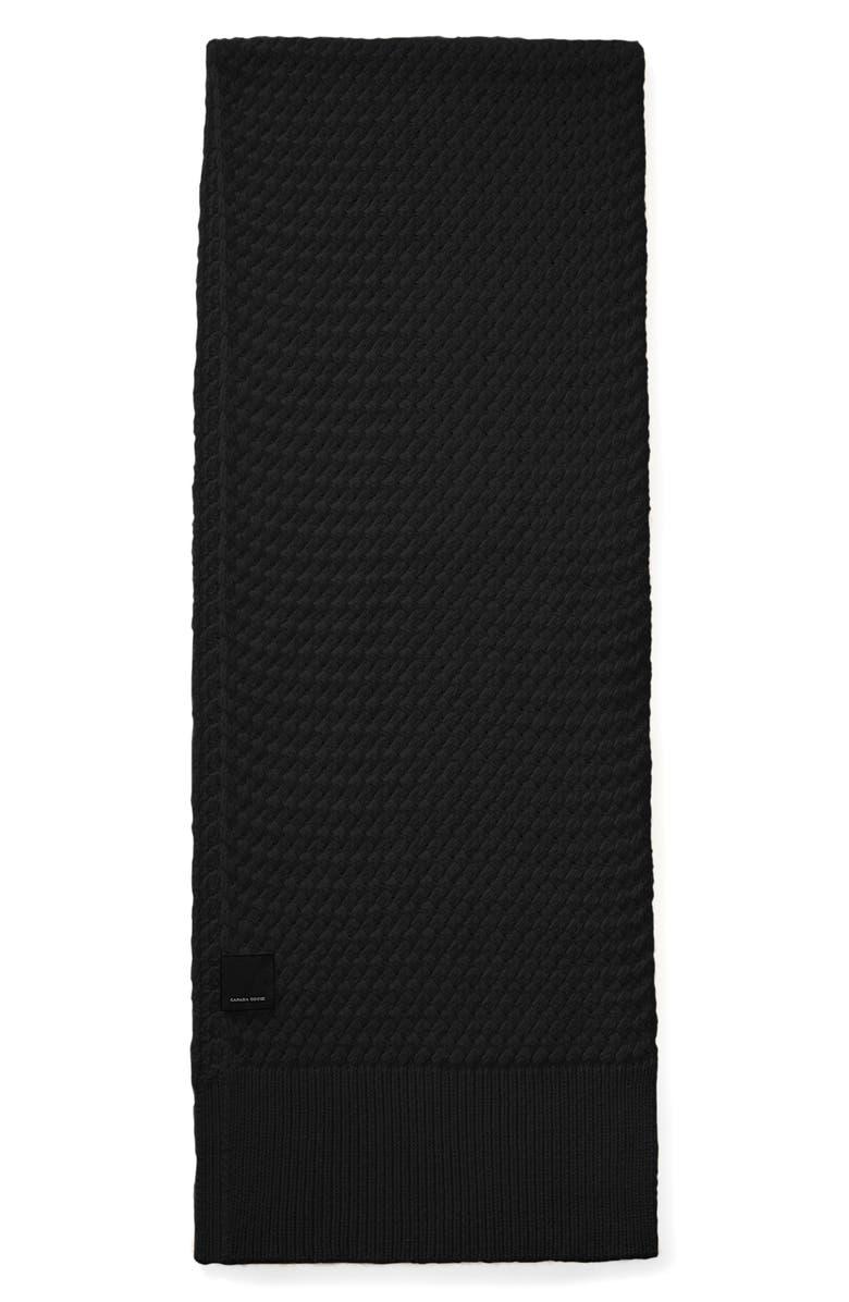 CANADA GOOSE Basket Weave Merino Wool Scarf, Main, color, BLACK