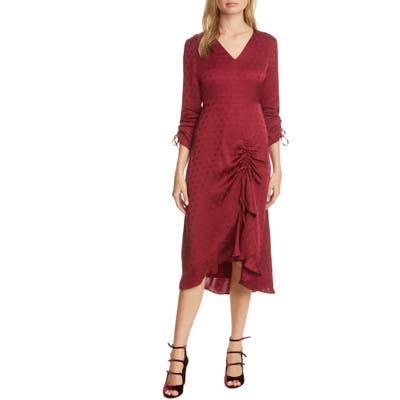Ted Baker London Rivvaa Ruched Long Sleeve Dress, Burgundy