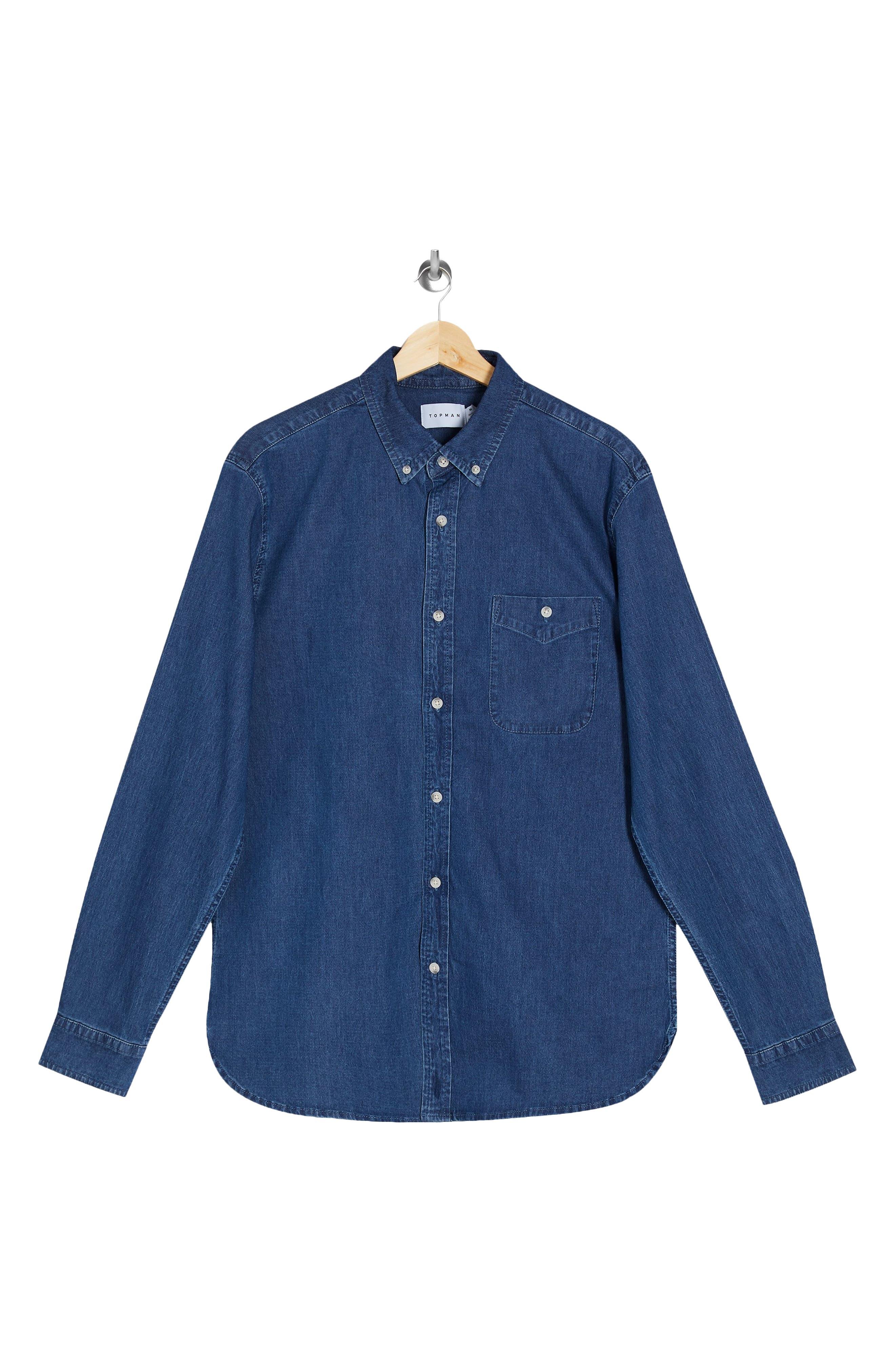 1960s Mens Shirts | 60s Mod Shirts, Hippie Shirts Mens Topman Mens Button-Down Stretch Denim Shirt Size XX-Large - Blue $33.00 AT vintagedancer.com