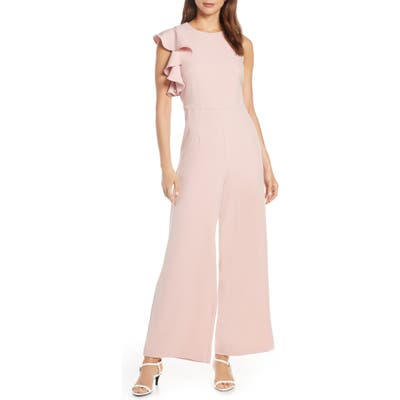 Julia Jordan Hunter Crepe Ruffle Shoulder Jumpsuit, Pink