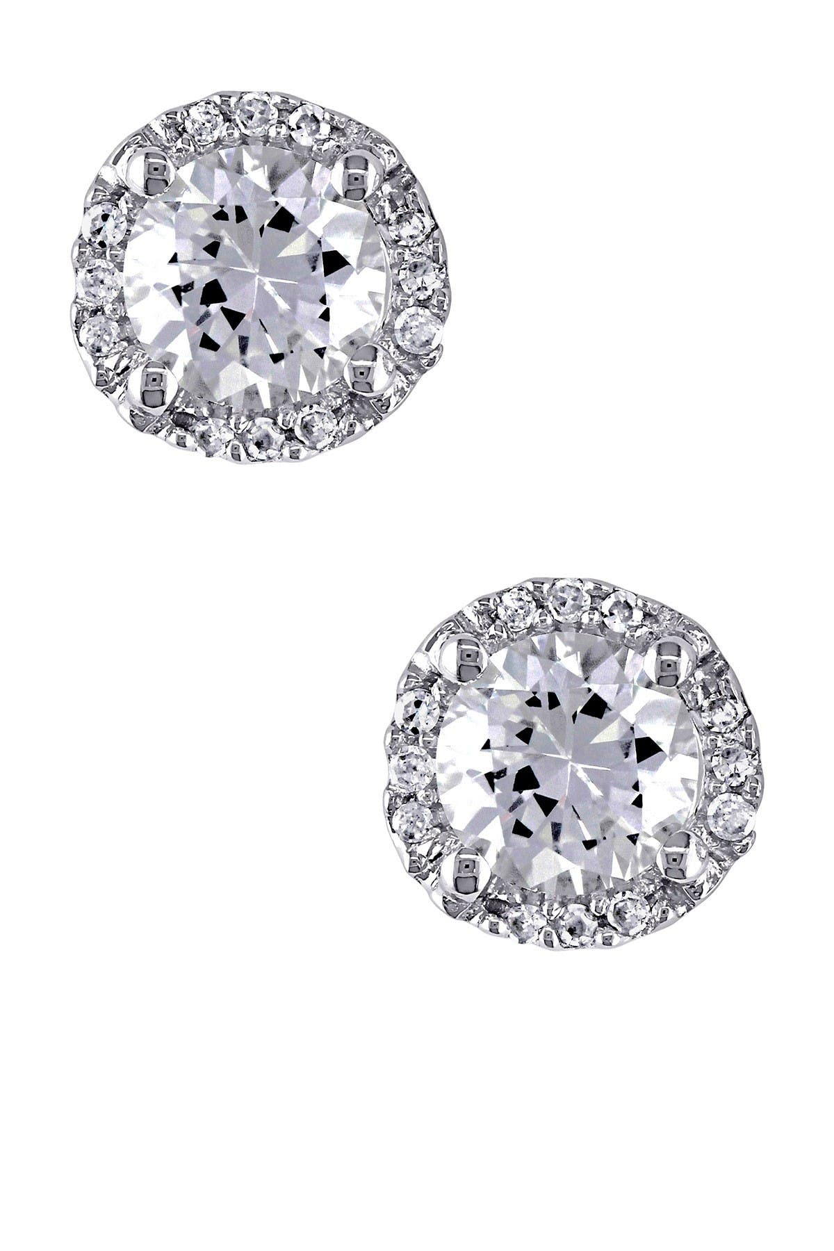 Image of Delmar Sterling Silver Created White Sapphire & Diamond Stud Earrings - 0.07 ctw