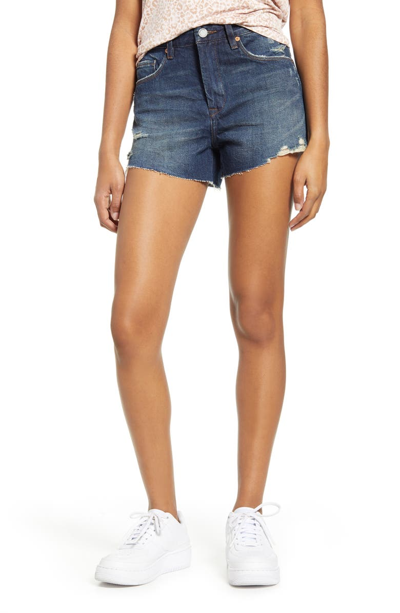 BLANKNYC The Barrow Distressed Denim Shorts, Main, color, IN THE END