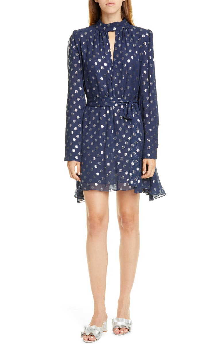 SALONI Tania Jacquard Dot Long Sleeve Silk Blend Dress, Main, color, NAVY CELESTIAL