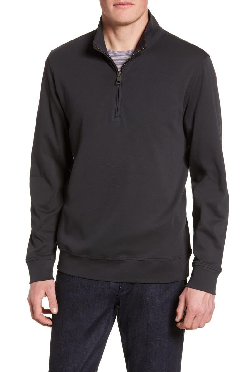 NORDSTROM MEN'S SHOP Solid Quarter Zip Pullover, Main, color, BLACK JET