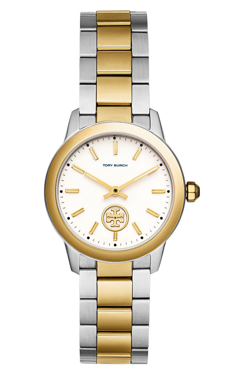 TORY BURCH Collins Two-Tone Bracelet Watch, 32mm, Main, color, SILVER/ IVORY/ GOLD