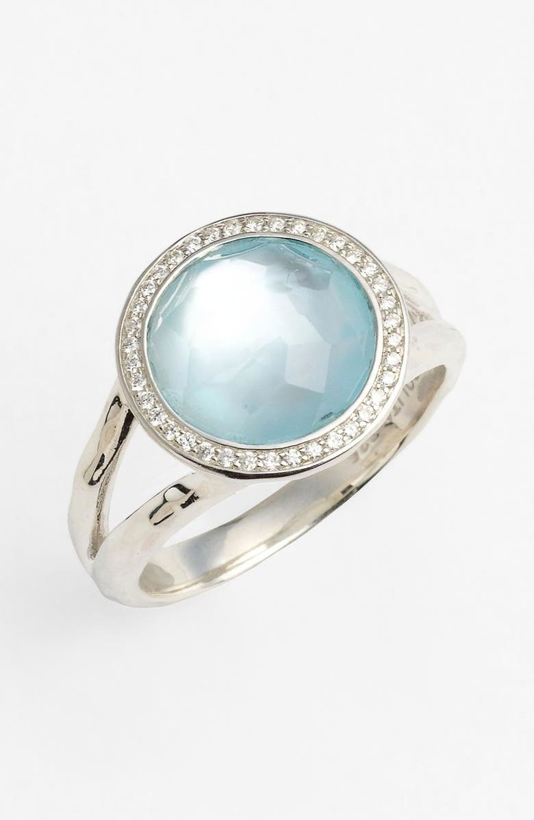 IPPOLITA 'Stella - Rock Candy' Cocktail Ring, Main, color, SILVER/ BLUE TOPAZ
