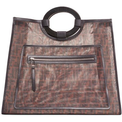 Fendi Large Runaway Printed Logo Mesh Shopper - Black