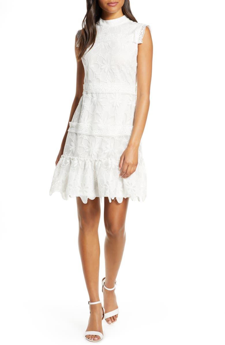 JULIA JORDAN Lace & Embroidery Sheath Dress, Main, color, IVORY