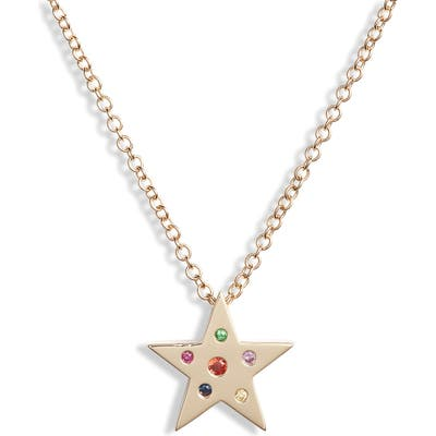 Ef Collection Mini Rainbow Speckle Star Pendant Necklace