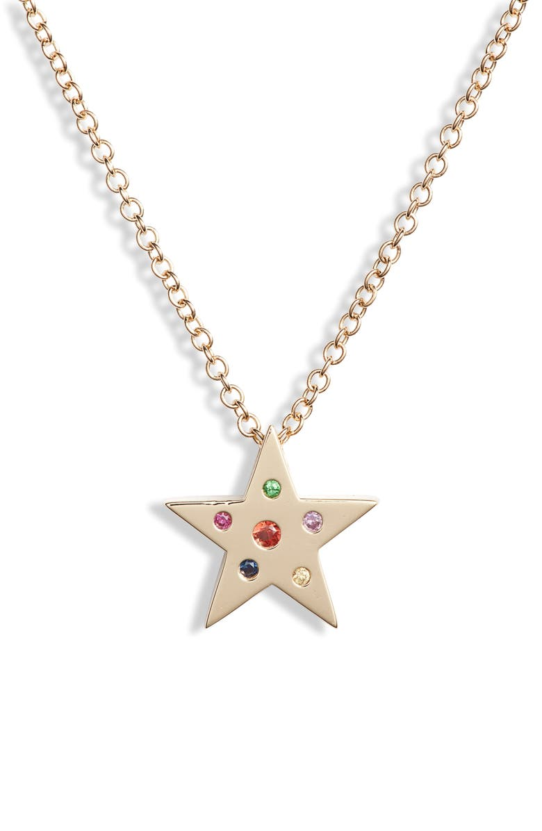 EF COLLECTION Mini Rainbow Speckle Star Pendant Necklace, Main, color, YELLOW GOLD/ DIAMOND
