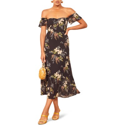 Reformation Butterfly Midi Dress, Black