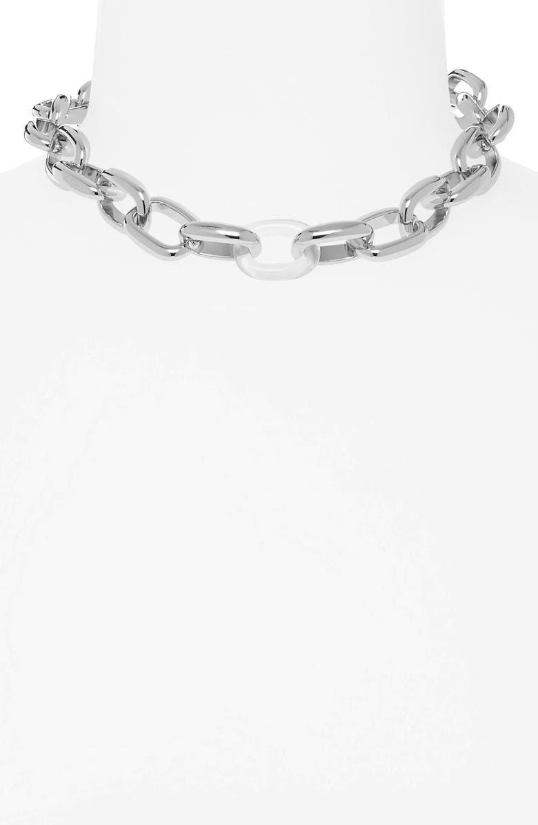 BP. Contrast Link Collar Necklace, Main, color, RHODIUM- CLEAR