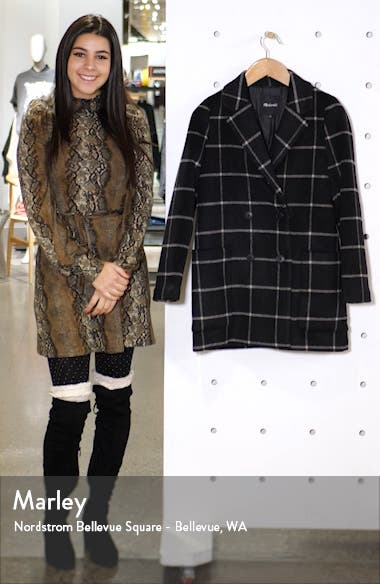 Hollis Windowpane Check Double Breasted Coat, sales video thumbnail