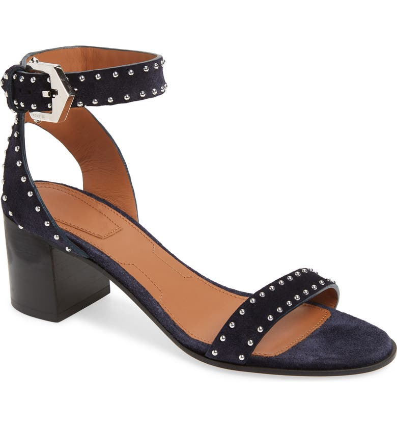 GIVENCHY Studded Ankle Strap Sandal, Main, color, NAVY