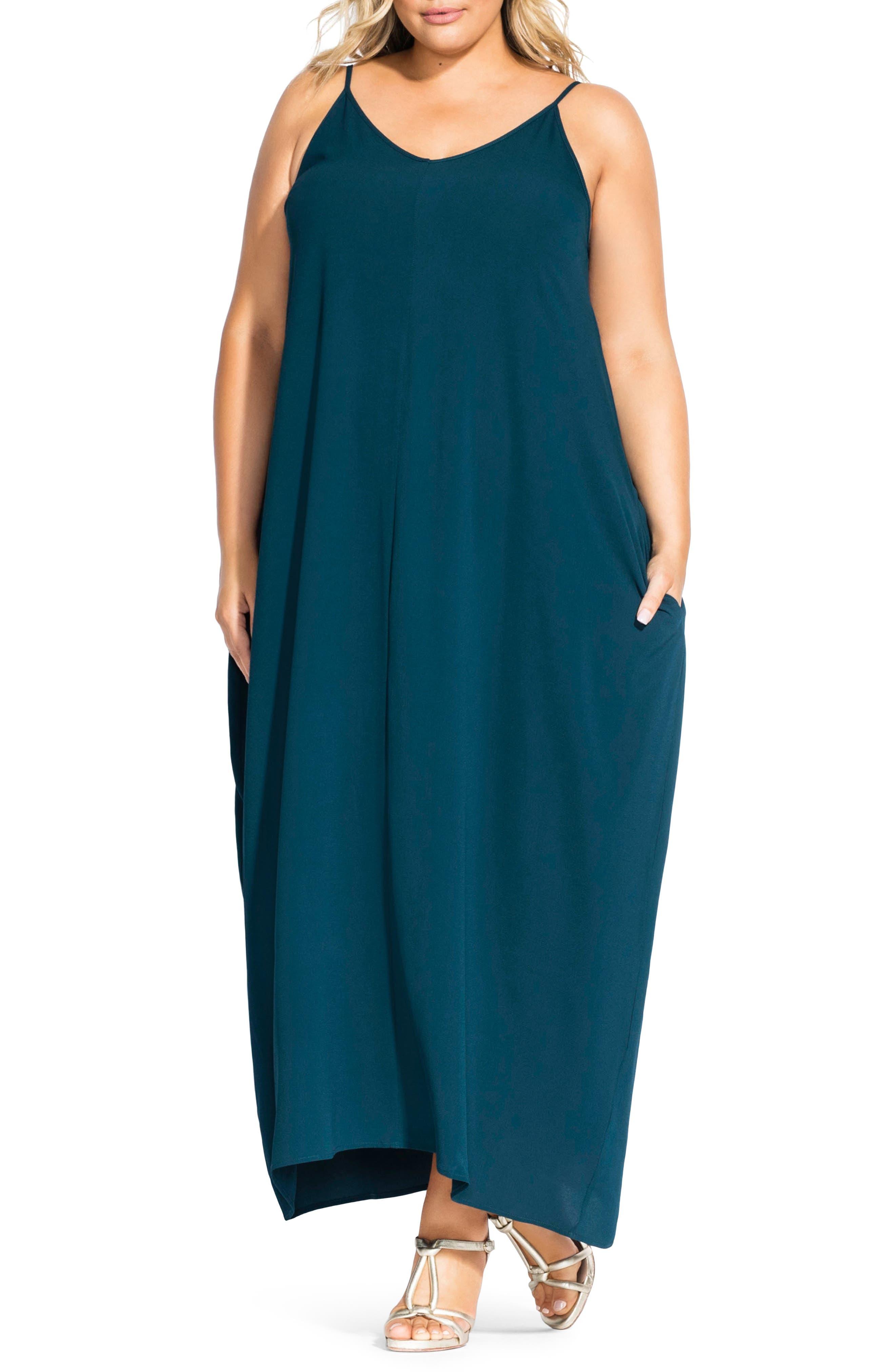 Plus Size City Chic V-Neck Maxi Dress, Blue