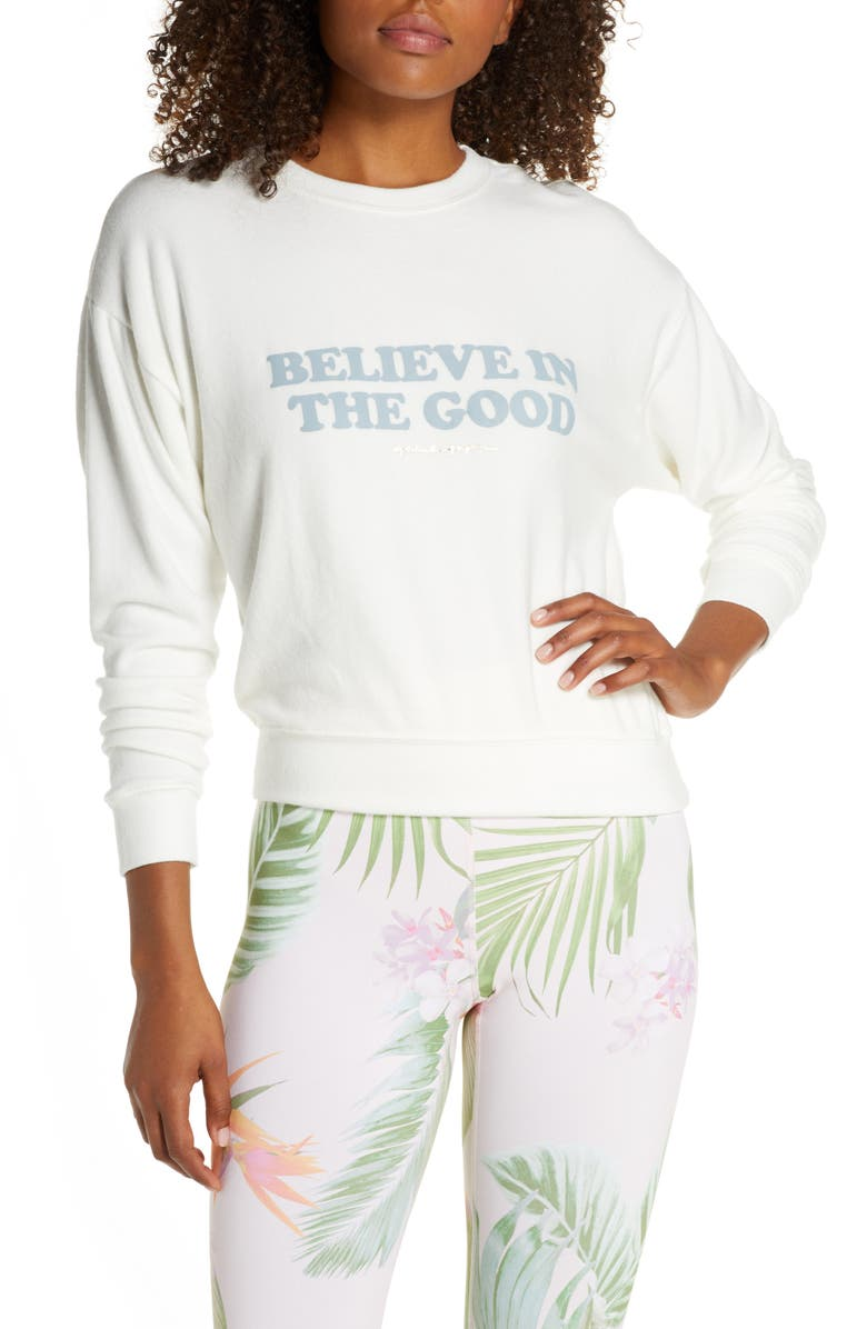 SPIRITUAL GANGSTER Believe in the Good Sweatshirt, Main, color, STONE