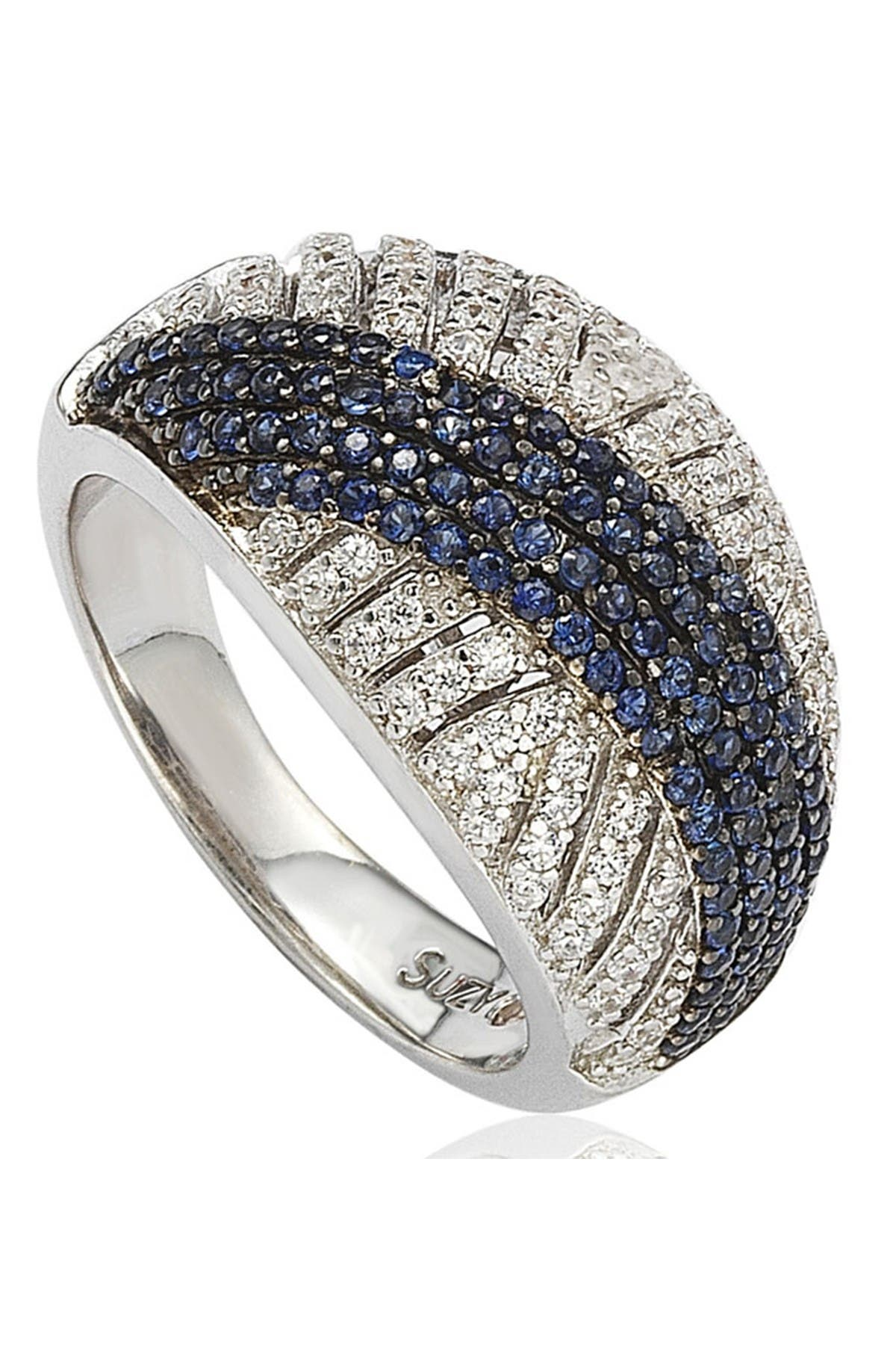 Image of Suzy Levian Sterling Silver Blue Sapphire & CZ Ring