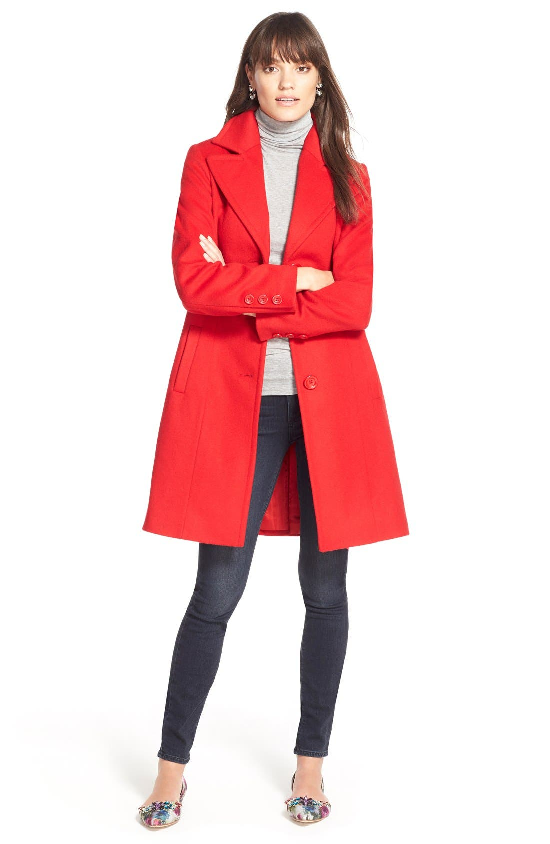 ,                             Single Breasted Wool Blend Coat,                             Alternate thumbnail 9, color,                             610
