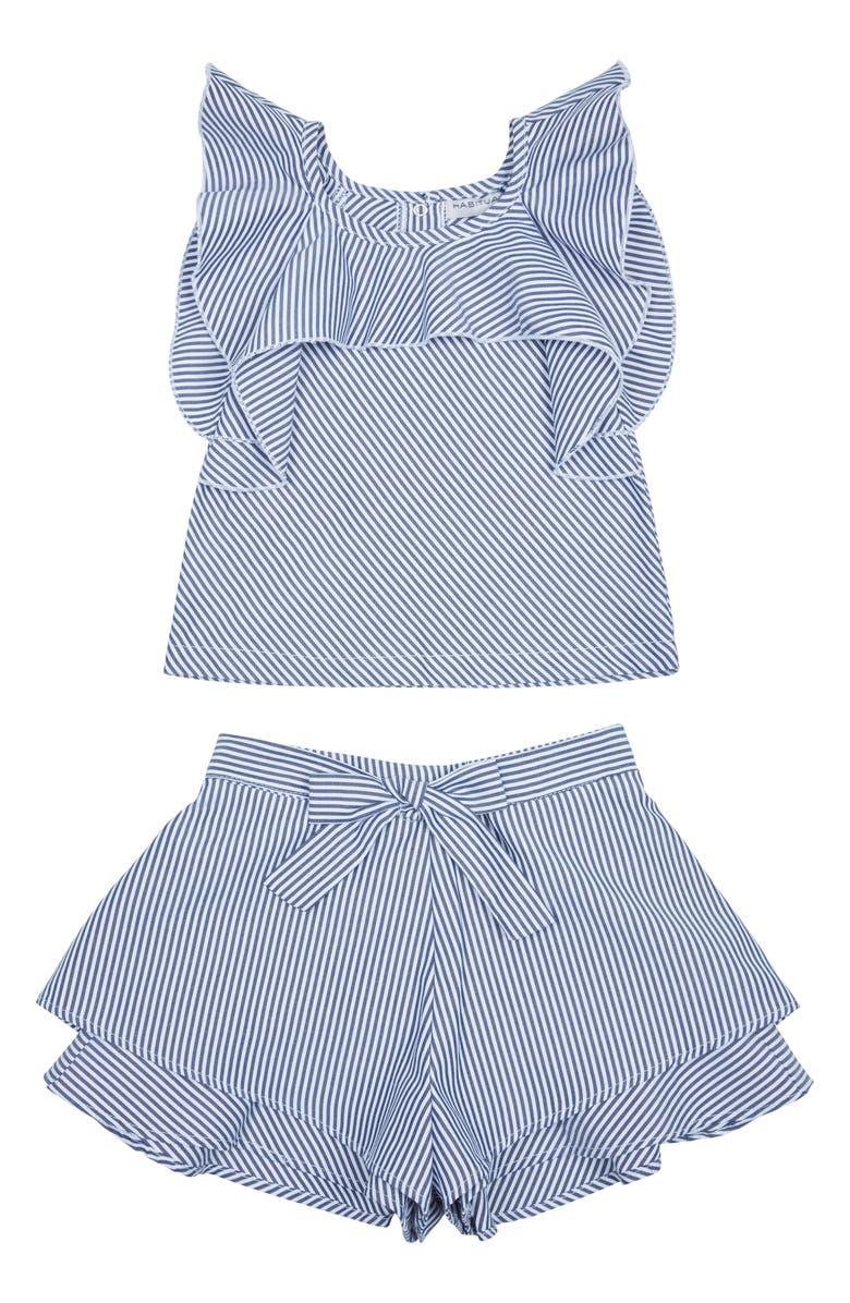 HABITUAL Lia Flounce Top & Shorts Set, Main, color, 100