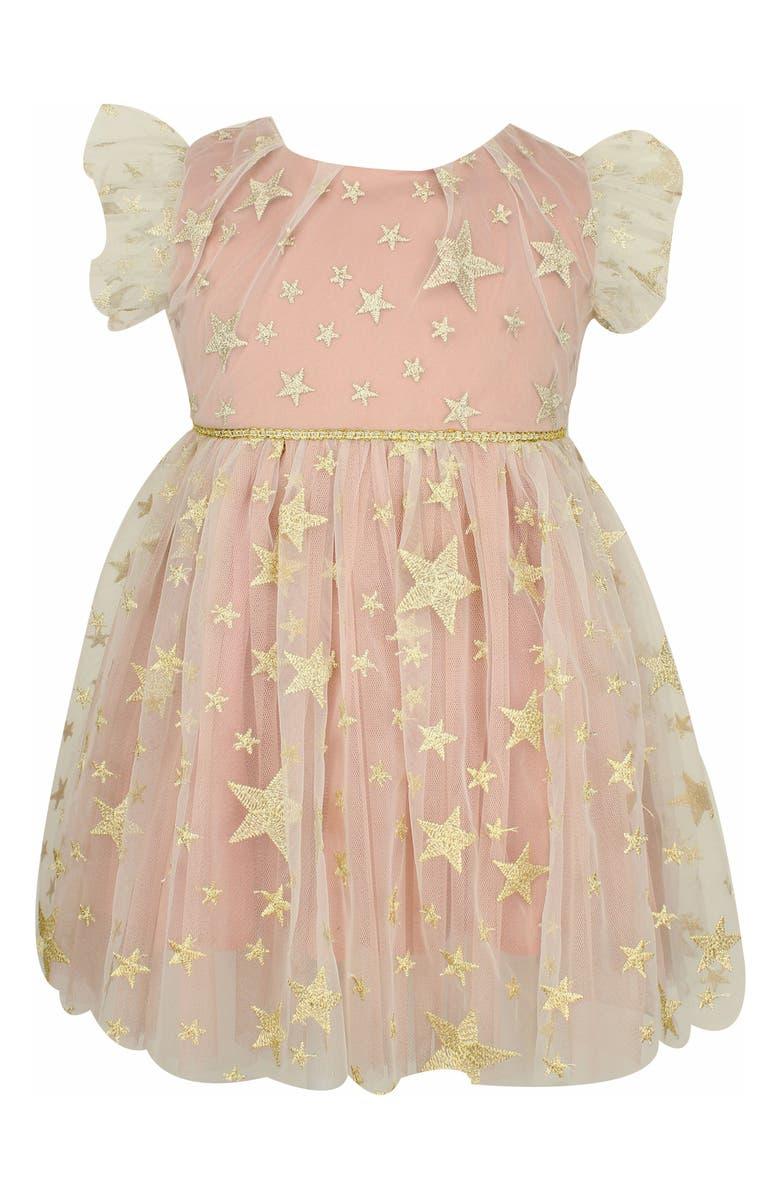 POPATU Embroidered Star Tulle Dress, Main, color, MAUVE