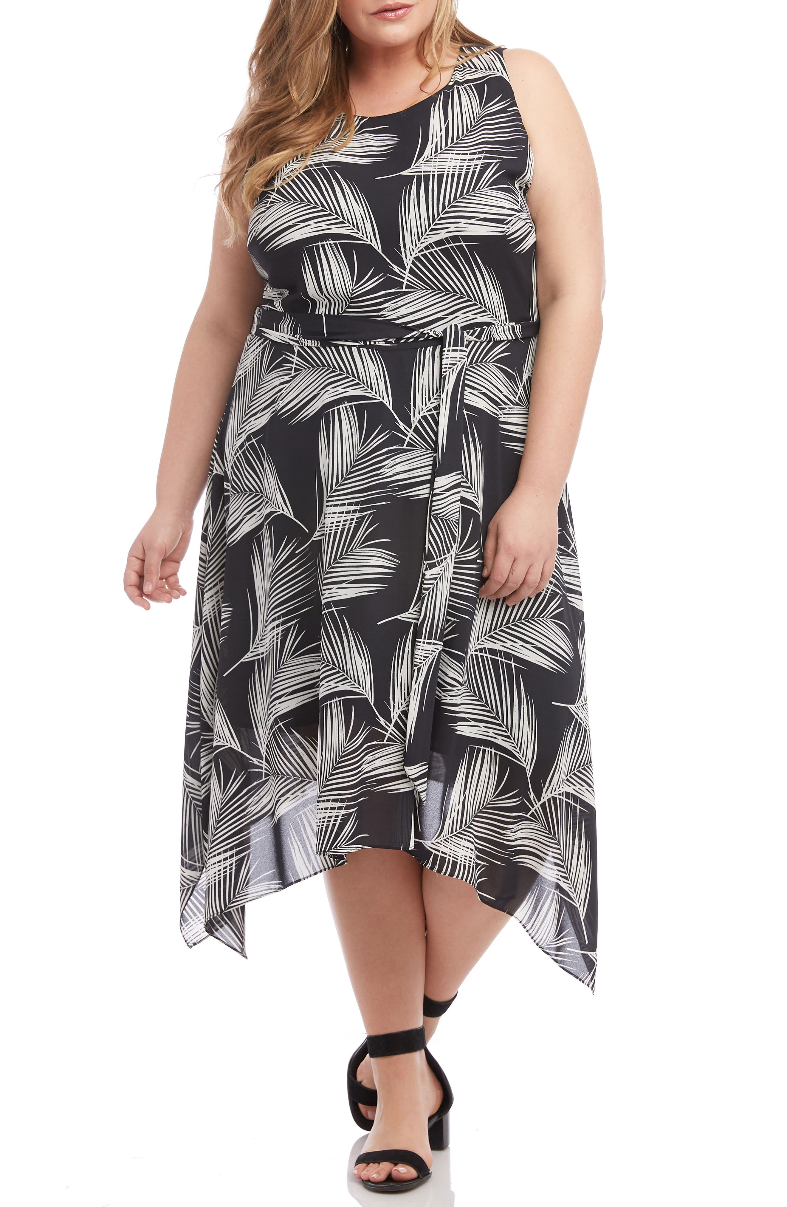 Plus Size Karen Kane Handkerchief Hem Palm Print Crepe Dress, Black