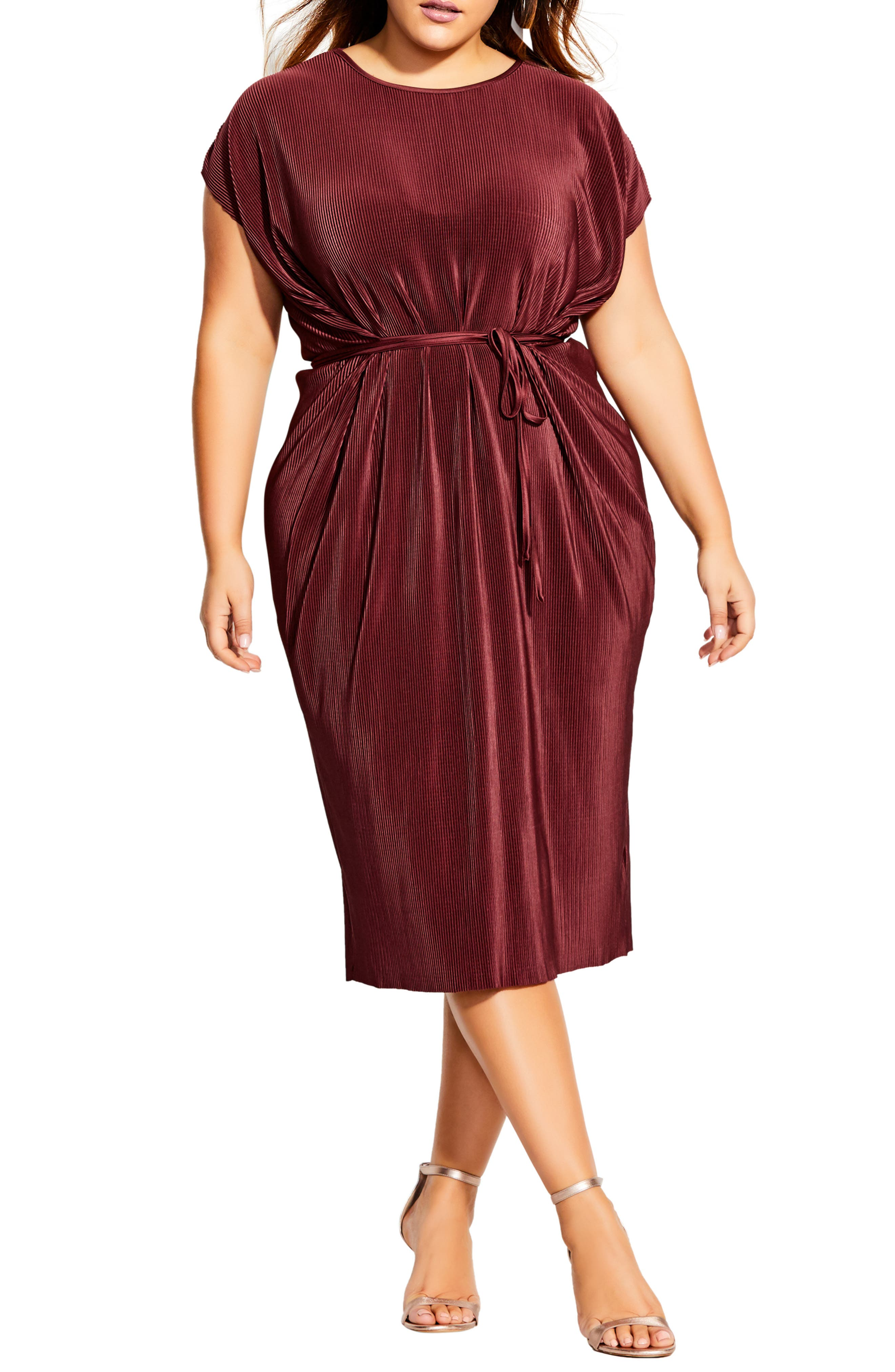 70s Prom, Formal, Evening, Party Dresses Plus Size Womens City Chic Pleated Midi Dress Size Large - Red $59.40 AT vintagedancer.com