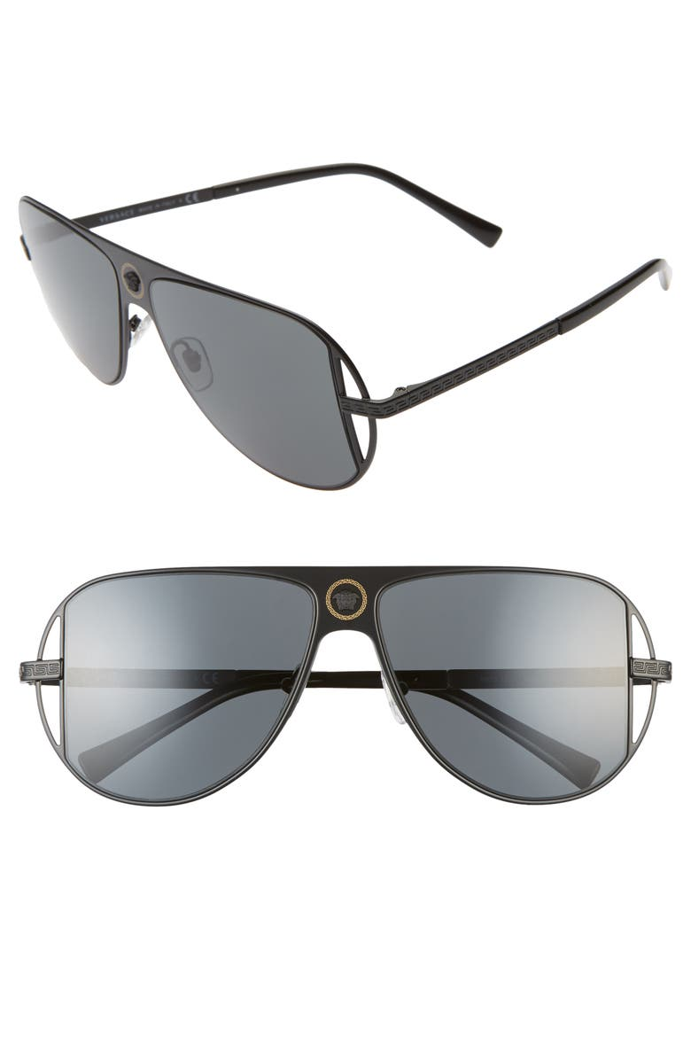 VERSACE 57mm Pilot Aviator Sunglasses, Main, color, MATTE BLACK/ BLACK SOLID