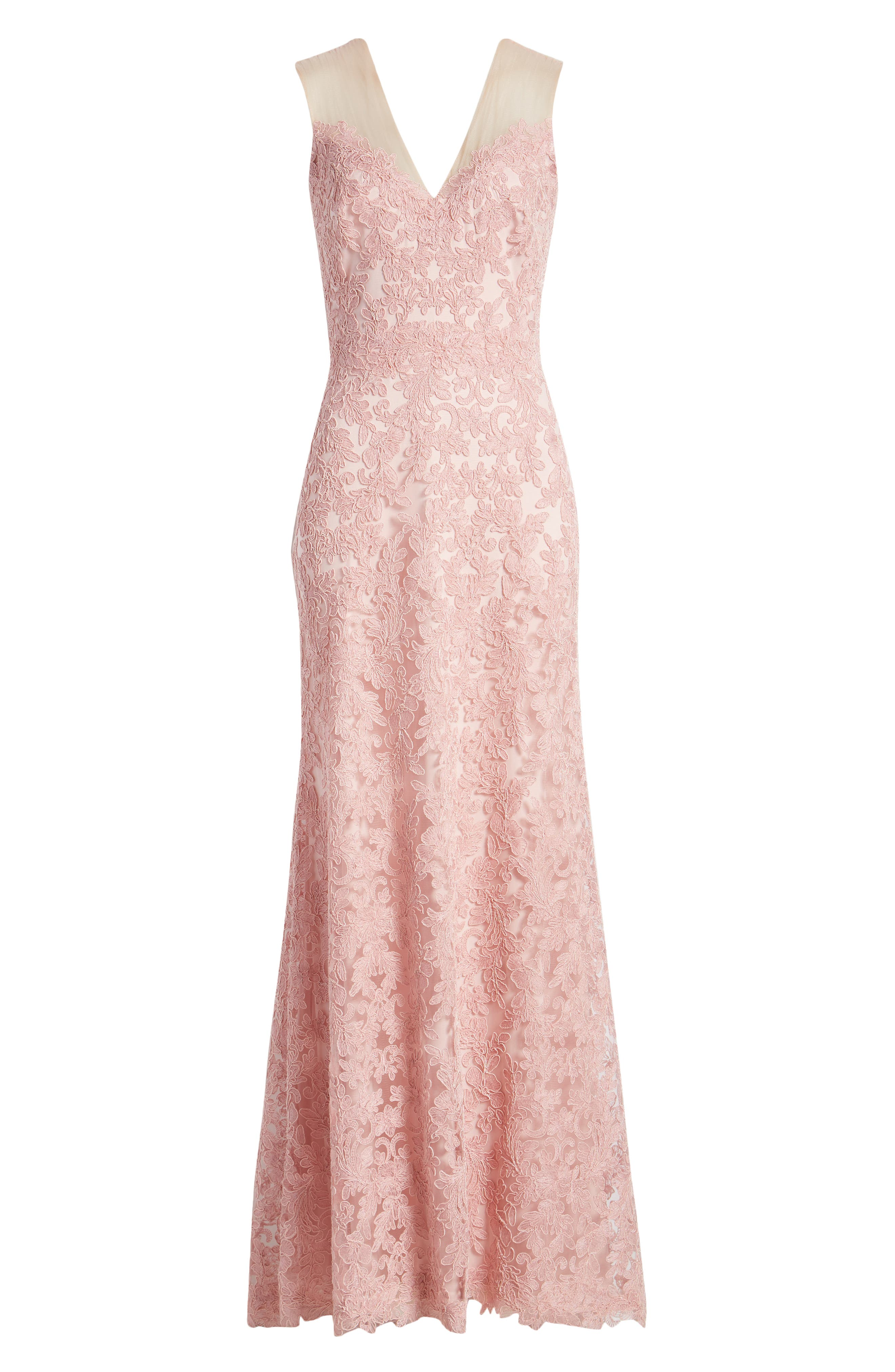1950s History of Prom, Party, Evening and Formal Dresses Womens Tadashi Shoji Lace Gown Size 6 - Pink $428.00 AT vintagedancer.com