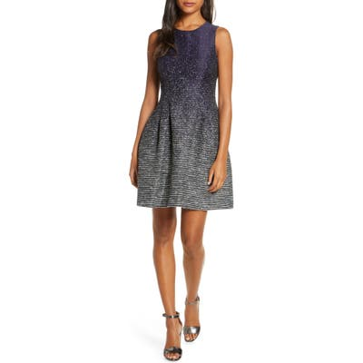 Vince Camuto Metallic Ombre Fit & Flare Dress, Blue