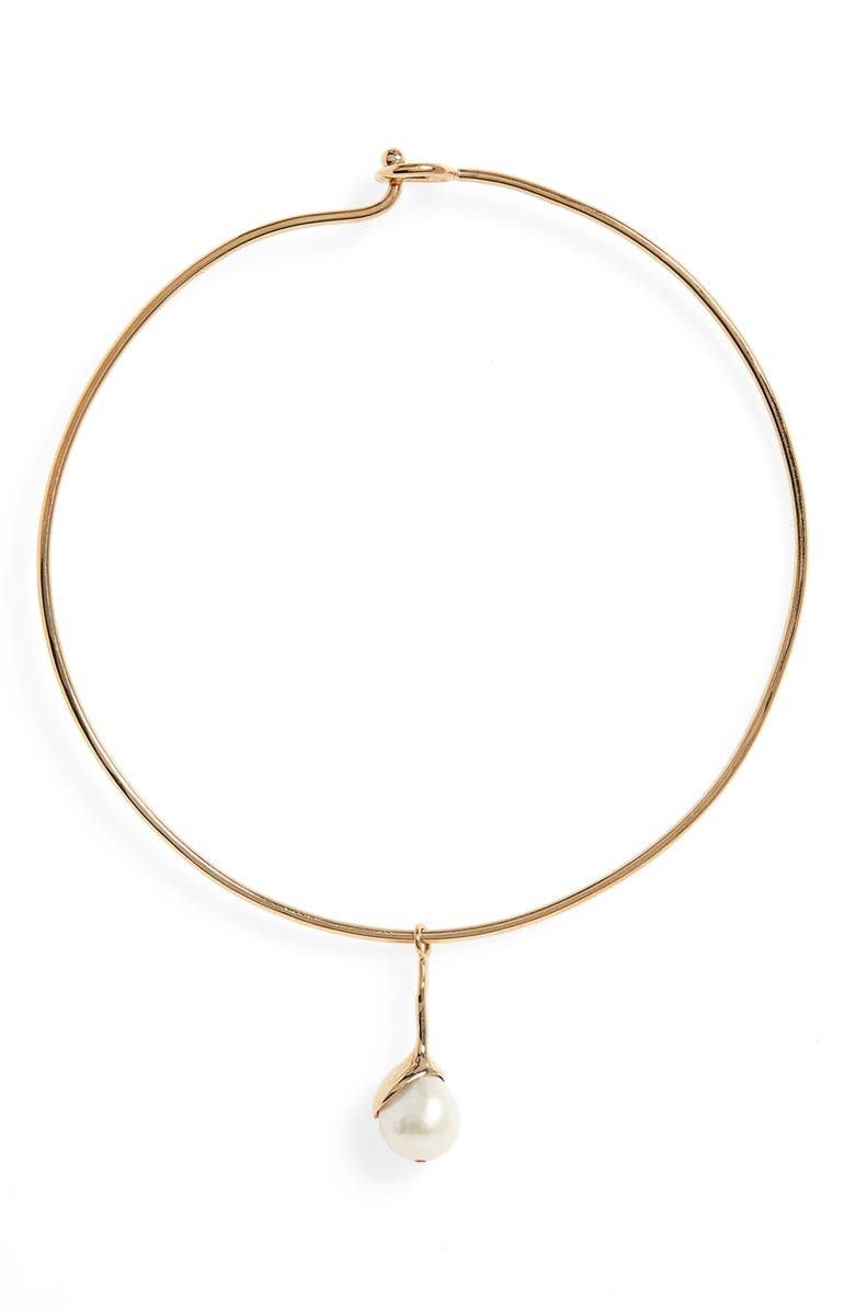 FARIS Pearl Collar Necklace, Main, color, BRONZE