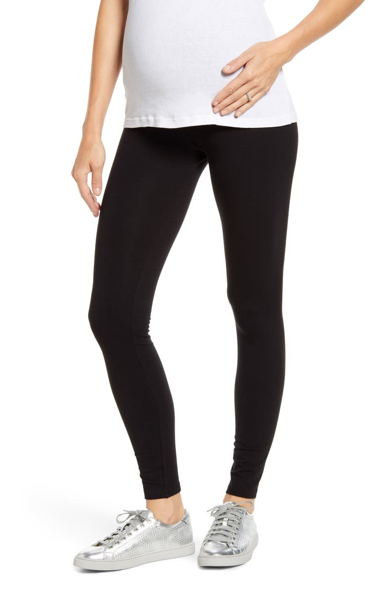 HUE Over the Belly Maternity Leggings, Main, color, BLACK
