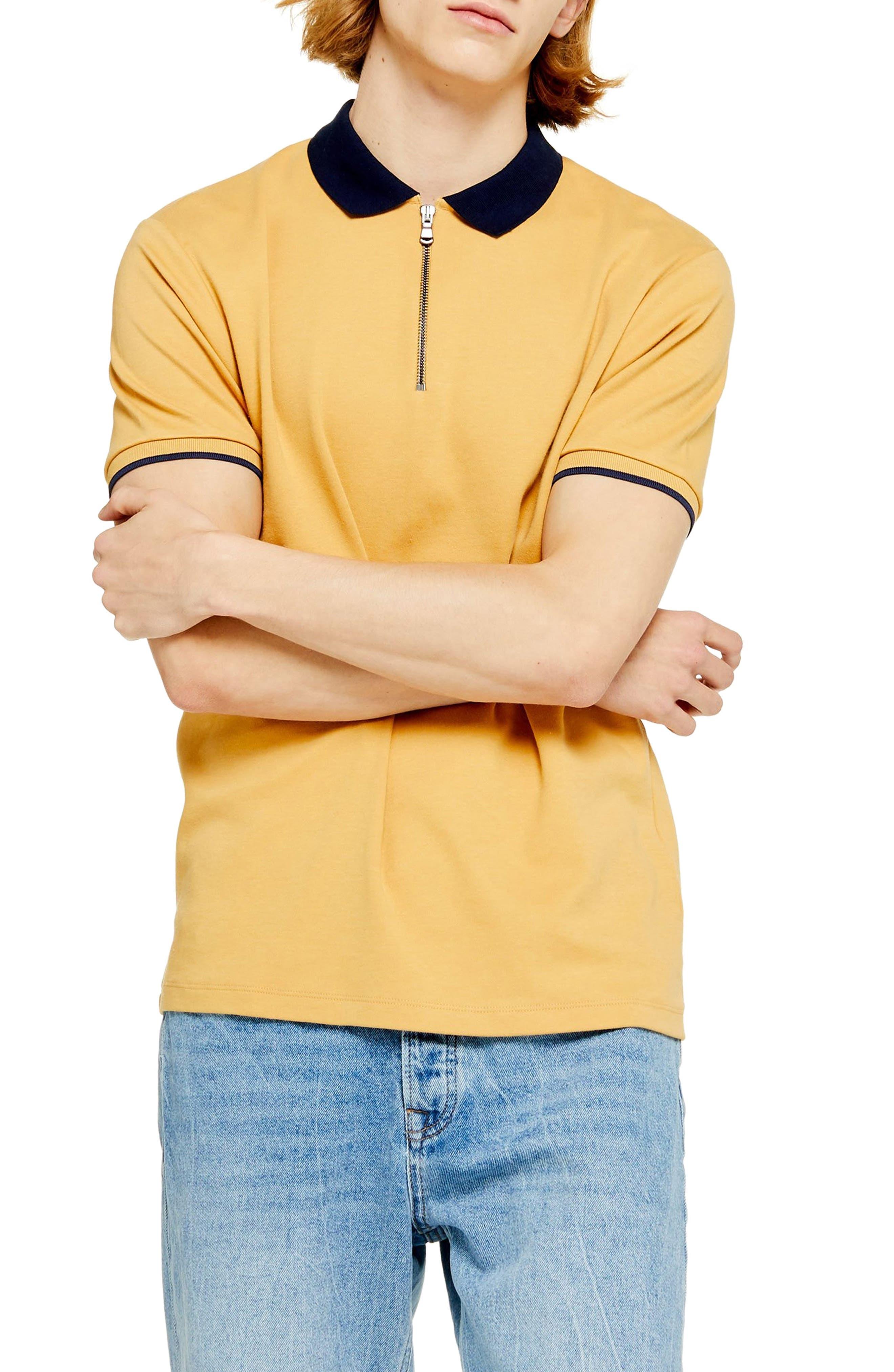 1960s – 70s Mens Shirts- Disco Shirts, Hippie Shirts Mens Topman Interlock Zip Polo $24.00 AT vintagedancer.com