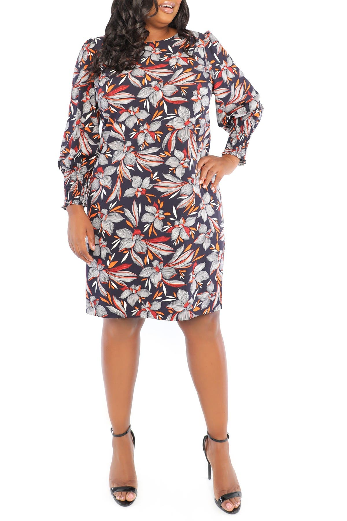 Image of London Times Smocked Cuff Feather Floral Print Puff Sleeve Dress