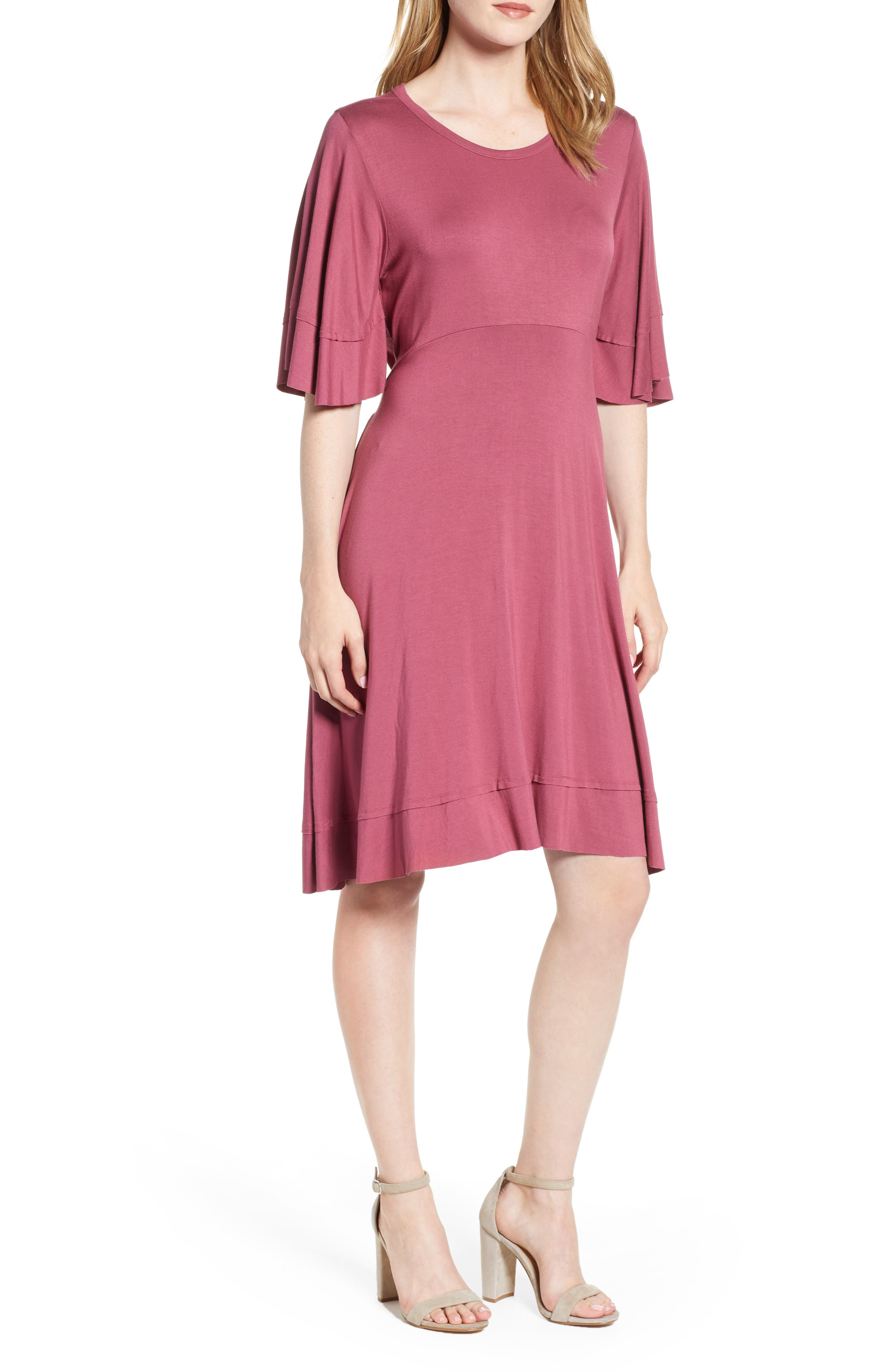 Lucky Brand Ruffle Sleeve Tie Back Dress, Purple