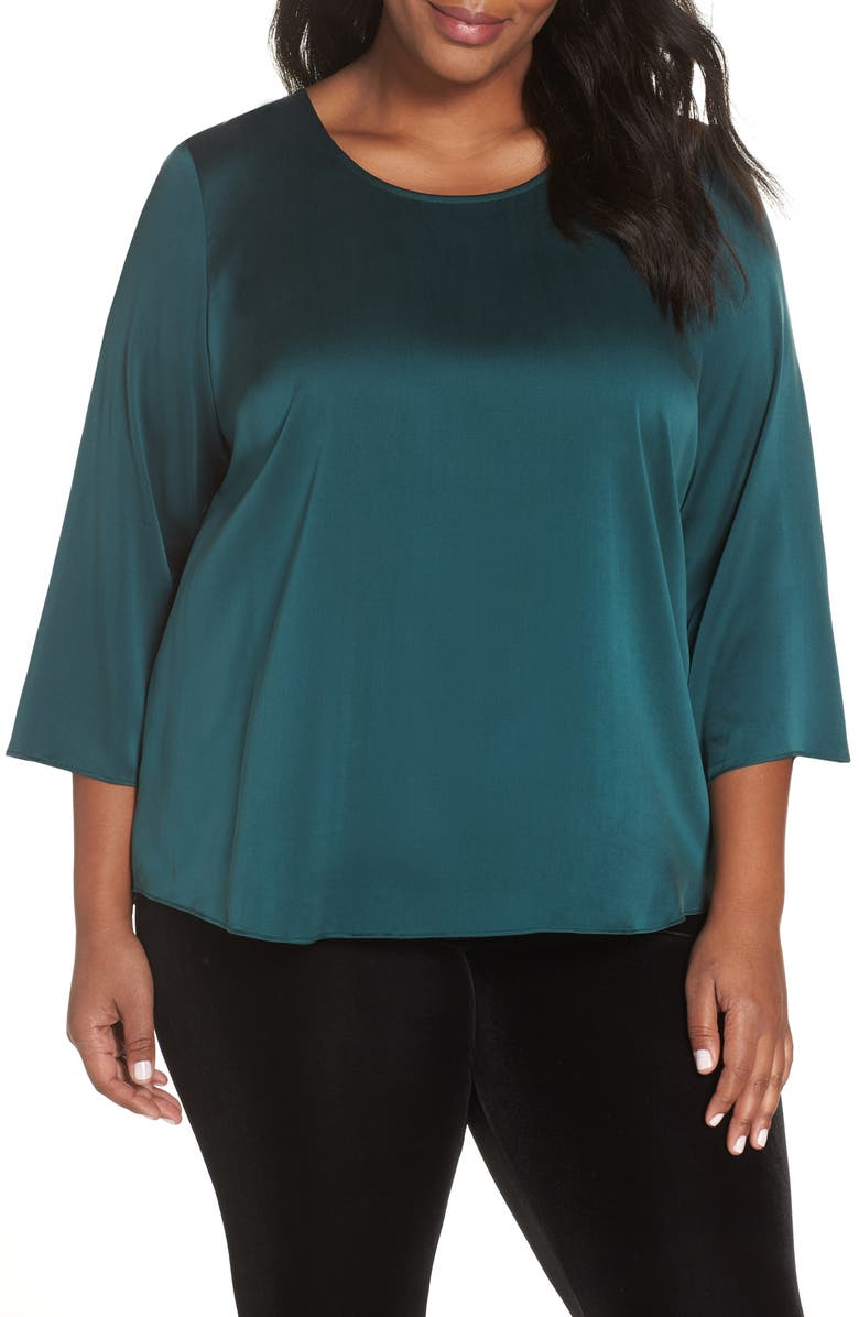 EILEEN FISHER Stretch Silk Top, Main, color, 303