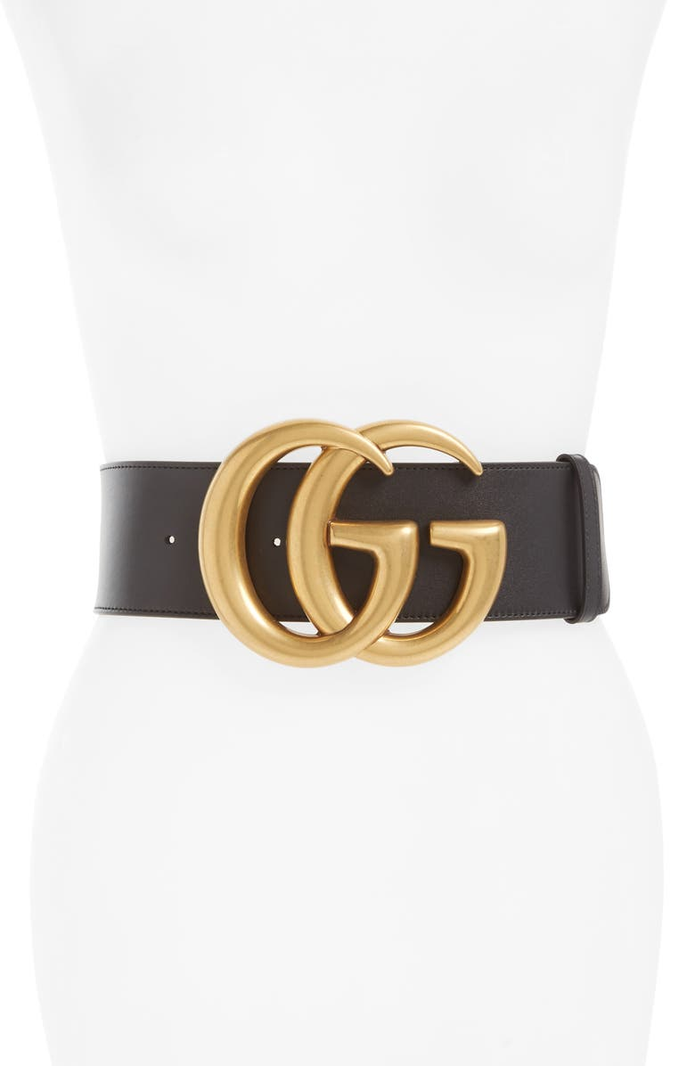 GUCCI GG Leather Belt, Main, color, NERO