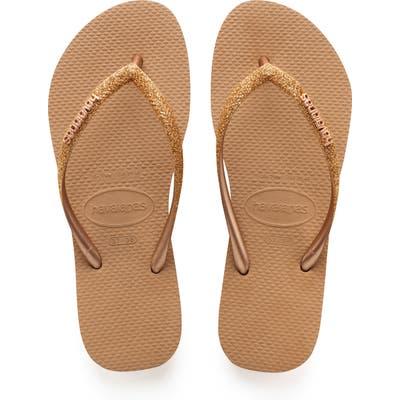 Havaianas Slim Glitter Flip Flop, 7/38 BR - Metallic