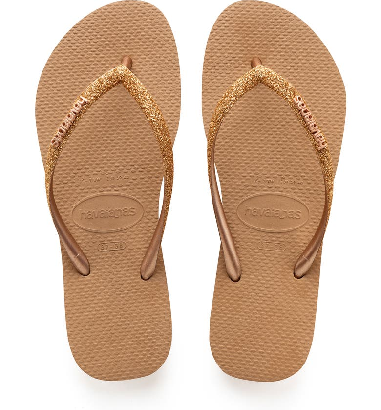 HAVAIANAS Slim Glitter Flip Flop, Main, color, ROSE GOLD
