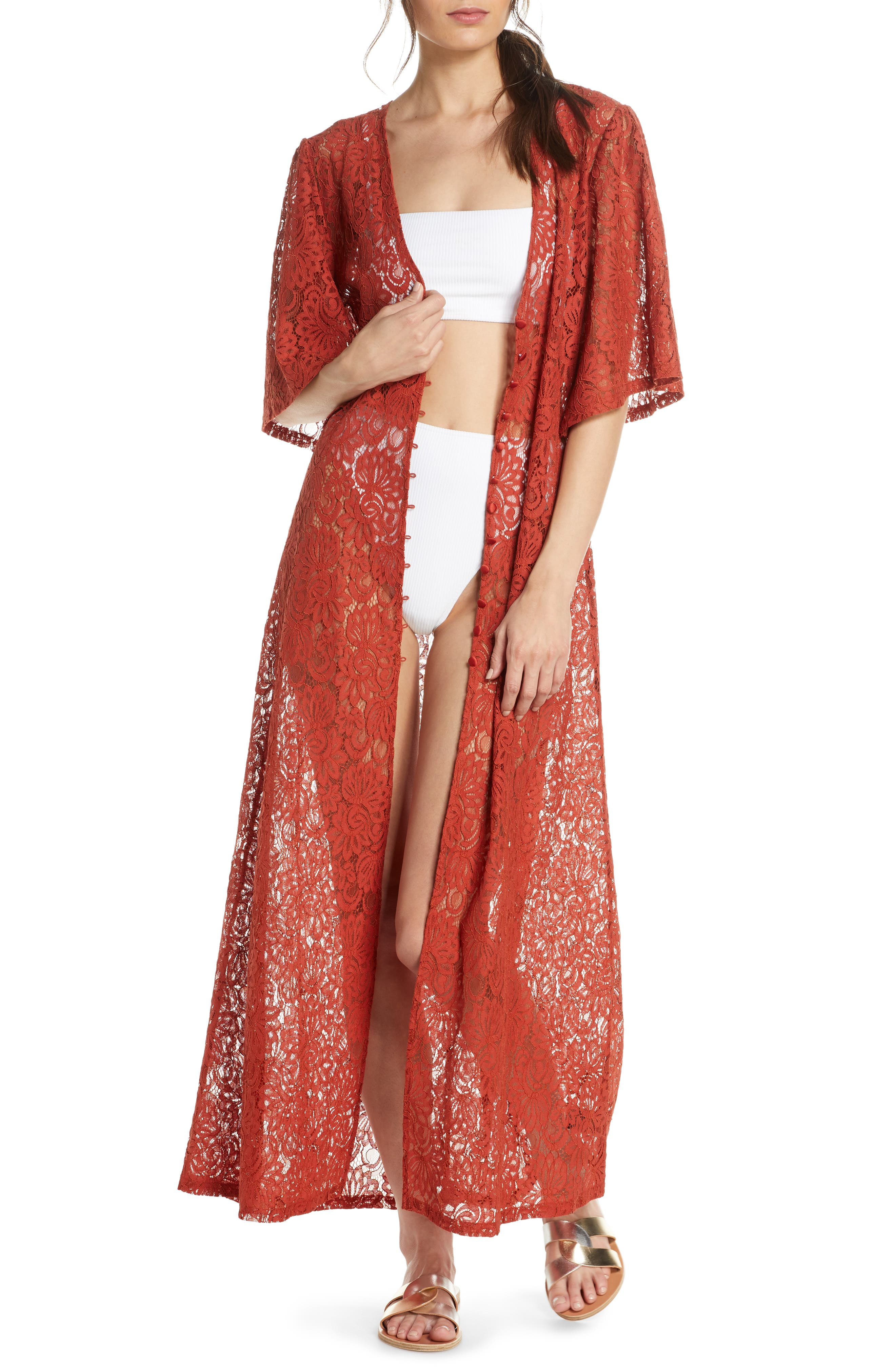 Something Navy Lace Cover-Up Wrap, Red (Nordstrom Exclusive)