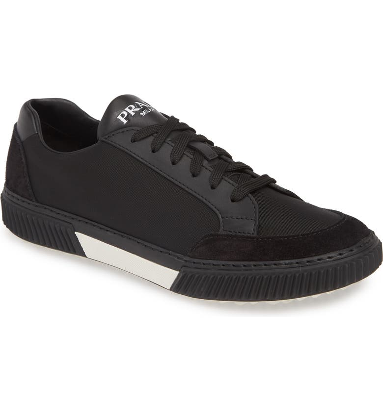PRADA Stratus Low Top Sneaker, Main, color, NERO/ BIANCO