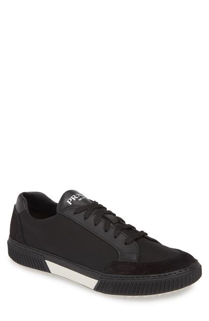 Prada Stratus Low Top Sneaker In Nero/ Bianco