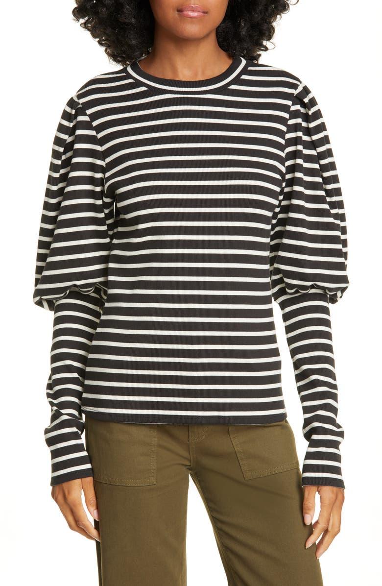 VERONICA BEARD Lyon Stripe Puff Sleeve Top, Main, color, BLACK/ IVORY