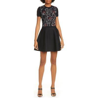 Valentino Lip & Rose Jacquard Sweater Dress, Black