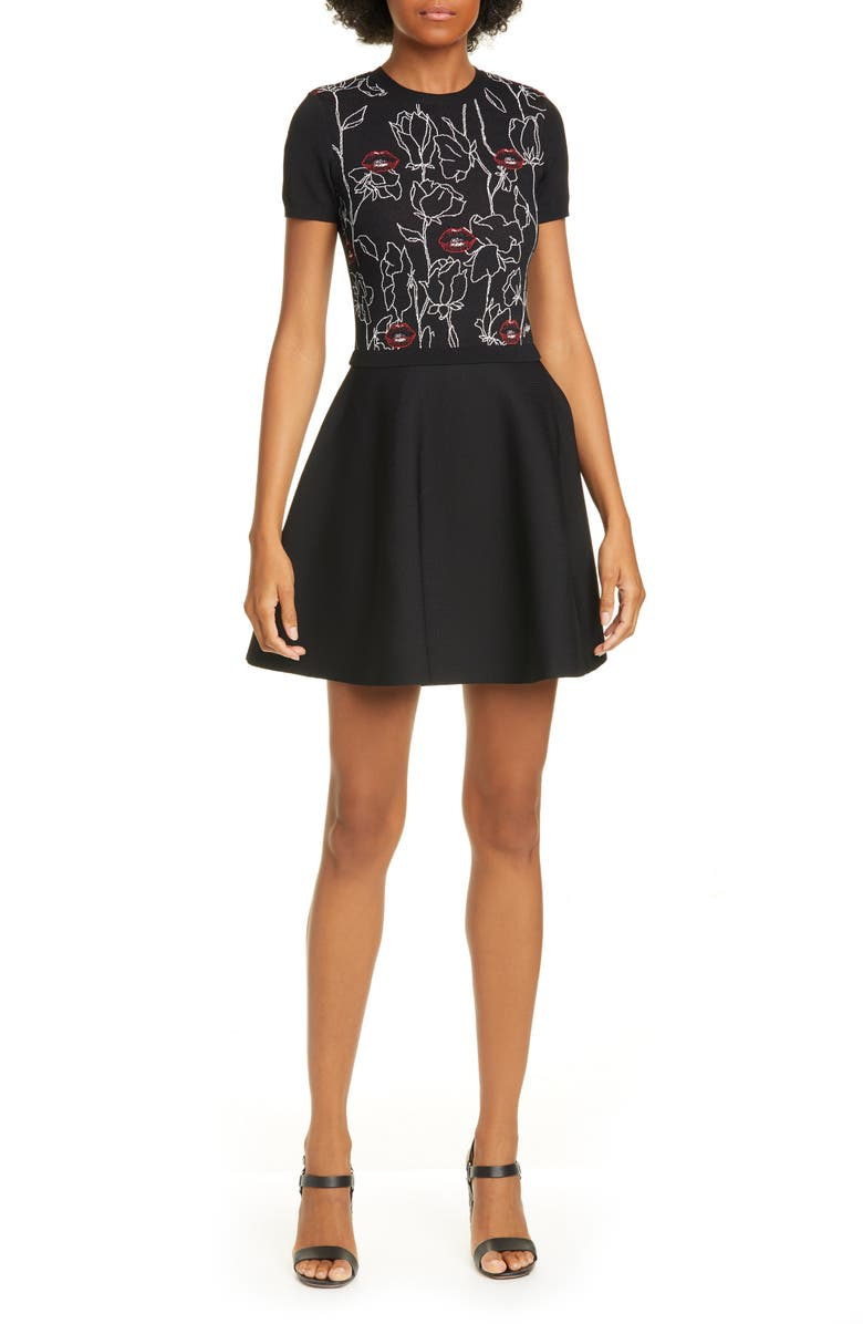 VALENTINO Lip & Rose Jacquard Sweater Dress, Main, color, NERO